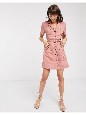 Other Stories &  multi-pocket mini utility dress in dusty pink