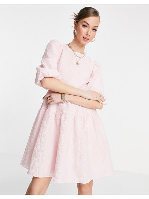 Other Stories &  open back volume mini dress in pink