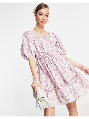 Other Stories &  organic cotton floral print smock mini dress in pink