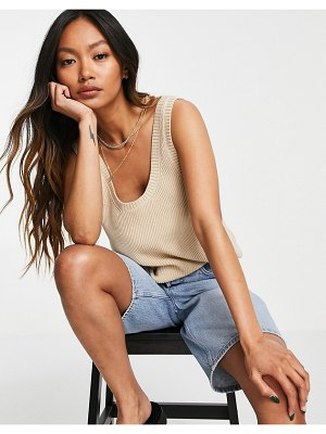 Other Stories &  organic cotton knitted tank in beige