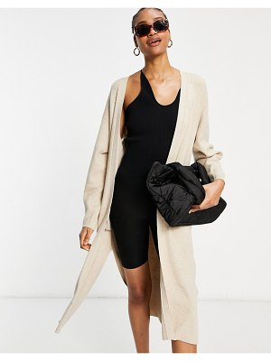 Other Stories &  organic cotton longline knitted cardigan in beige