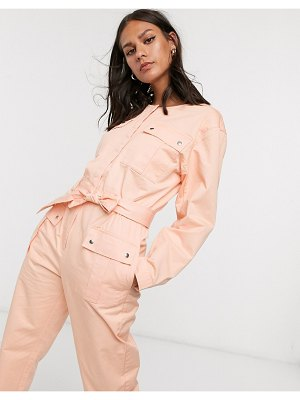 Other Stories &  pocket detail utility jumpsuit in bleached peach-pink