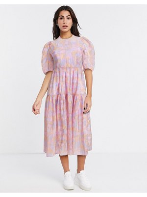 Other Stories &  printed puff sleeve midi dress in pink