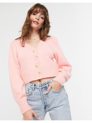 Other Stories &  puff shoulder cardigan in pink
