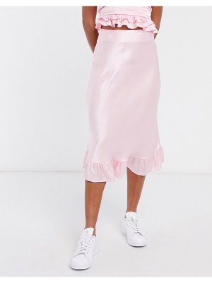 Other Stories &  satin ruffle midi skirt in pink
