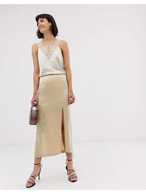 Other Stories &  satin side split skirt in light beige