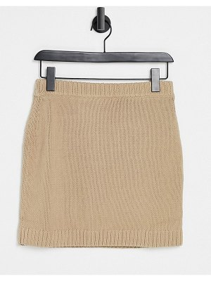 Other Stories &  set knitted chunky rib mini skirt in beige-neutral