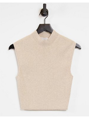 Other Stories &  set organic cotton knitted ribbed top in beige-neutral