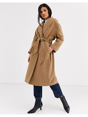 Other Stories &  tie-waist wool coat in camel-brown