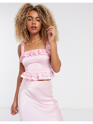 Other Stories &  two-piece sleeveless satin ruffle top in pink
