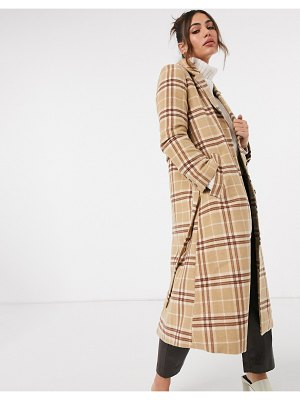 Other Stories &  wool blend belted check coat in brown