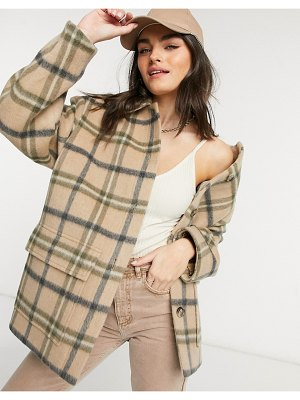 Other Stories &  wool oversize check shacket in beige-neutral