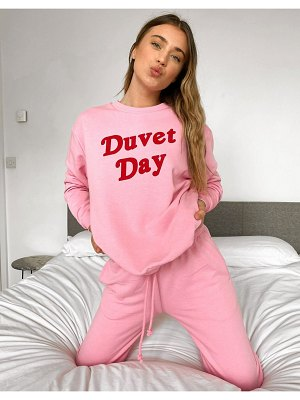 Outrageous Fortune loungewear motif slogan sweat top in pink