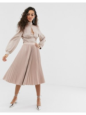Outrageous Fortune midi pleated skater skirt in mink