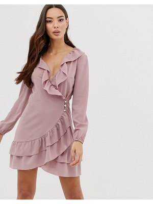Outrageous Fortune ruffle detail skater dress in soft pink