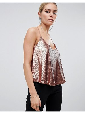 Outrageous Fortune sequin cami top in rose gold