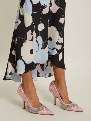 PACIOTTI BY MIDNIGHT Crystal-embellished ruched satin pump