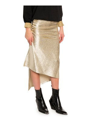 Paco Rabanne Golden Ruched Button Jersey Skirt