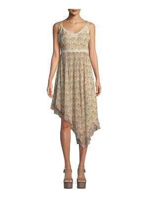 PAIGE Aubrey Botanical Floral-Print Georgette Midi Dress w/ Lace
