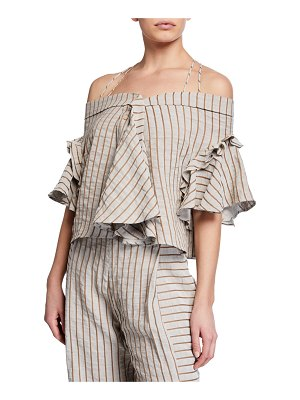 palmer/harding Haven Striped Off-Shoulder Ruffle Top