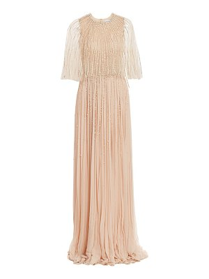 Pamella Roland crystal embroidered chiffon cape gown