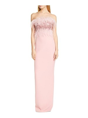 Pamella Roland crystal feather bodice column gown