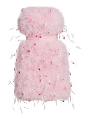 Pamella Roland marabou & tulle strapless cocktail dress