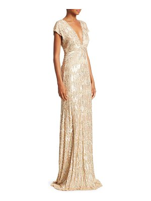 Pamella Roland sequin & crystal georgette v-neck gown