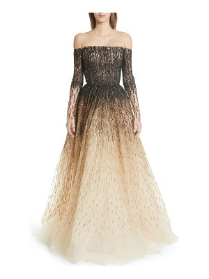 Pamella Roland sequin embroidered ombre ballgown