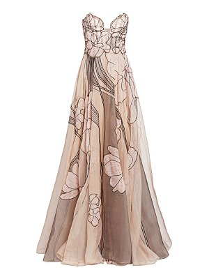 Pamella Roland silk organza beaded floral strapless gown