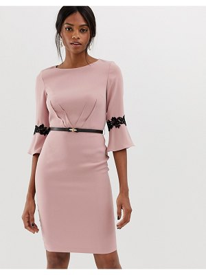 Paper Dolls 3/4 sleeve midi dress with flute sleeve