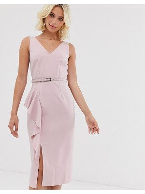 Paper Dolls belted midi dress in stone