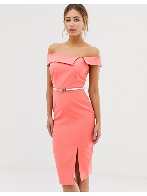 Paper Dolls cutaway neck pencil dress with belt in coral