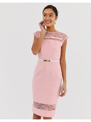 Paper Dolls lace detail midi dress with belt in white