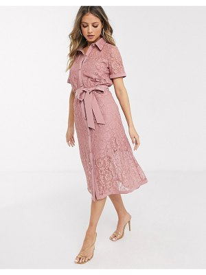 Paper Dolls lace shirt dress in dusky rose-pink