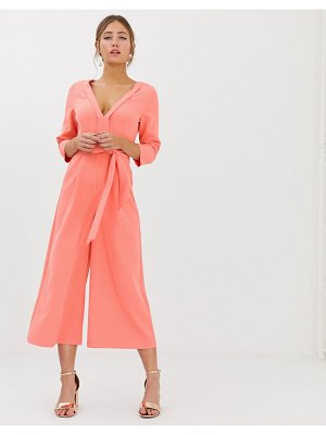 Paper Dolls wide leg culotte jumpsuit with tie waist in coral