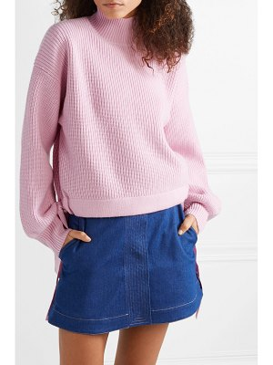 PAPER LONDON candyfloss oversized tie-detailed wool turtleneck sweater