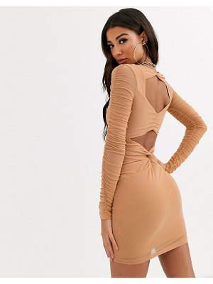 Parallel Lines bodycon dress with ruched detail-brown