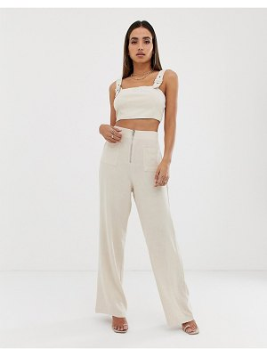 Parallel Lines high waist pants with zip detail two-piece-beige