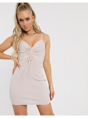 Parallel Lines ruched front bodycon mini dress-pink