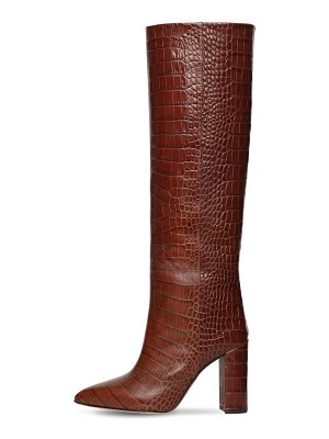 Paris Texas 100mm tall croc embossed leather boots