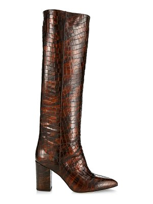 Paris Texas croc-embossed patent leather point-toe tall boots