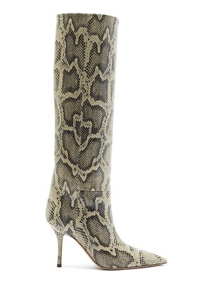 Paris Texas mama python-effect leather knee-high boots