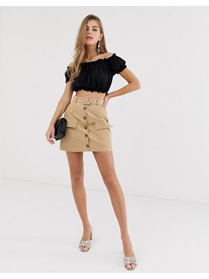 Parisian button down utility skirt with belt