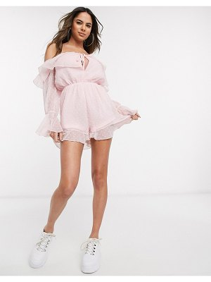 Parisian dobby mesh off shoulder romper in pink