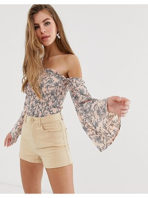 Parisian floral shirred off shoulder top