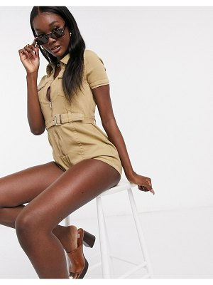 Parisian utility romper with belted waist in stone
