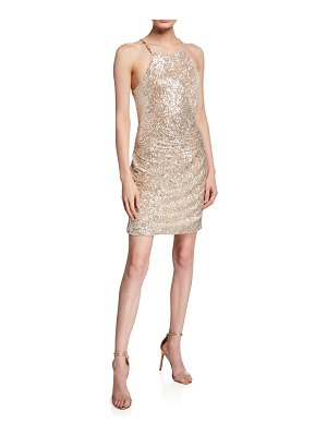 Parker Black Alina Sequin Bodycon Mini Halter Dress with Ruching