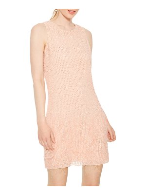 Parker Black Allegra Beaded Mini Shift Dress with Feathers