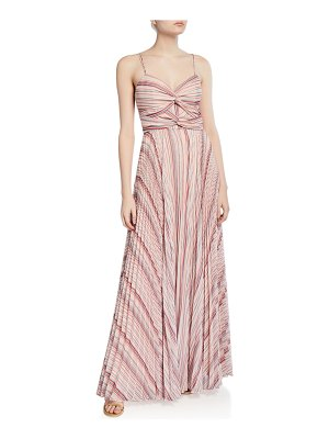 Parker Black Beatrix Striped Twist-Front Sweetheart Sleeveless Pleated Gown